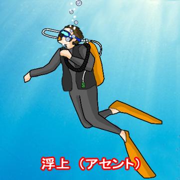 水面を見つつ、ゆっくり浮上する
