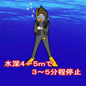 水深4~5mで3~5分程度停止