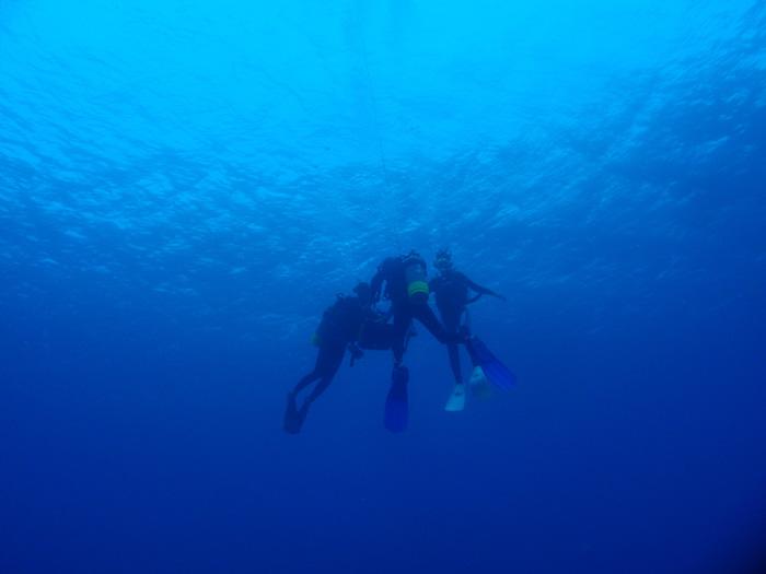安全停止時は急浮上になり勝ちなので、ボートダイビングの時は、エキジットロープに捕まりましょう